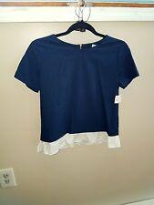 NWT ZARA Woman Navy Blue Ruffled dress shirt/top