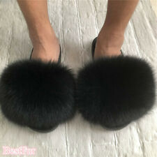 Black-Max Large XXL Real Fox Fur Slides Womens Slippers Sandals Furry Shoes