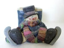 Winter Christmas Ice Skating Snowman Candle Votive Holder Resin