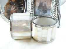 Vintage Art Deco Matching Pair of Mother-of-Pearl & Silver Napkin Rings 925