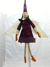 Oiseau-Bateau poupée tissu chiffon lutin prune étolies et ailes 66 cm