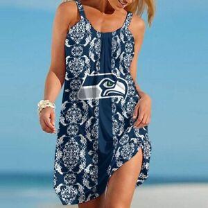 Seattle Seahawks Women Spaghetti Strap Dresses Backless Loose Swing Sundresses