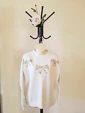 ✿♡ Womens Jumper Size 12 (Granny Sweater Floral Bow Soft Vintage Kawaii) ♡✿