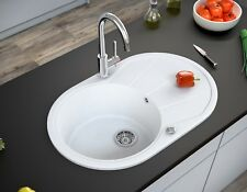 BERGSTROEM Évier de cuisine en granit encastré réversible 780x500 blanc