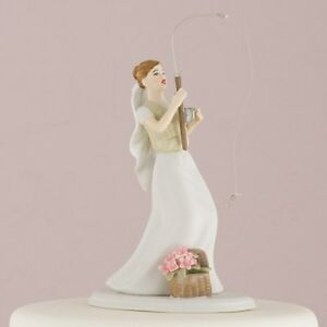 Wedding Cake Topper Bride with Fishing Rod Hand Painted Porcelain