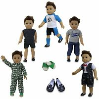 5 Sets Boy Doll Clothes + 2 Shoes for American 18 Inch Boy Doll Accs Outfits Lot