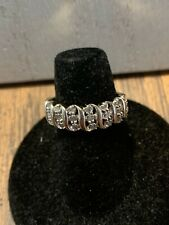 Sweet Size 8 Stone Sterling Ring signed DNJ 925