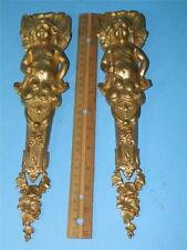 ANTIQUE PAIR DORE BRONZE FIGURAL EROS PLAQUES FRENCH ORMOLU FURNITURE MOUNTS