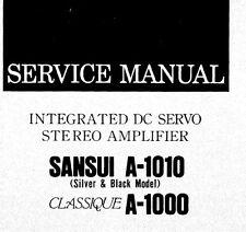 SANSUI A-1010 CLASSIQUE A-1000 INT DC SERVO ST AMP SERVICE MANUAL PRINTED ENG