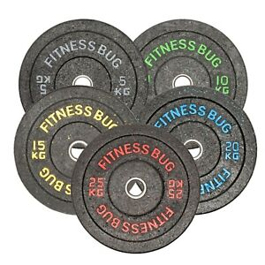 FitnessBug Rubber Crumb Bumper Plates Olympic Weight Plates - Pair