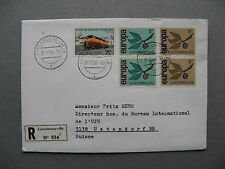Luxembourg, R-cover to Switzerland 1966, mixed franking Europe Cept train