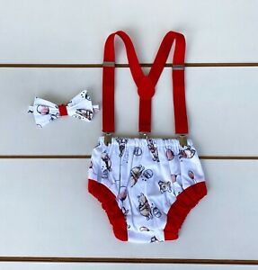 Winnie The Pooh Print Cake Smash Outfit - First Birthday Outfit Baby Boy
