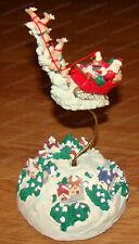 Vintage Musical Flying Santa & Reindeer, Motion Wind-up Music Box, Sleigh Ride