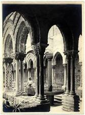 Very nice Monreale Palermo Young woman in the cloister Silver print 1900c  L111