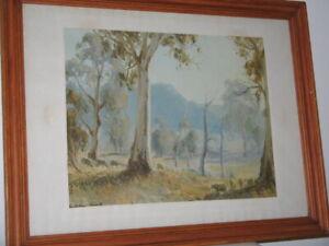 Sheep Grazing Blue Hills Tall Eucalyptus Trees Framed Print Australian Art