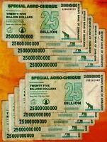 10 x 25 Billion Zimbabwe Dollars Special Agro Cheque Lot 10PCS Banknotes Bundle