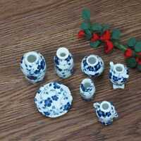 6* Mini Hot Chinese Style Porcelain Vases For 1:12 Miniature