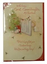 (83) Single Christmas Card - Great Granddaughter - Little Girl Peeping  (Size G)