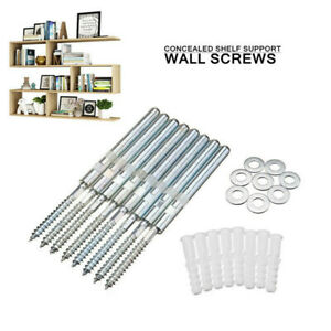 Concealed Floating Hidden Shelf Support Pins Bracket Masonry Kit Wall Screws