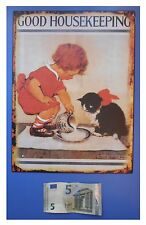 "Targa vintage ""Good housekeeping"" (casalinga gatto gattino), metallo, cm 33x25"