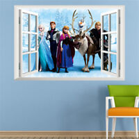POSTER 3D STICKER AUTOCOLLANT MURAL REINE DES NEIGES ANNA ELSA DECORATION ENFANT