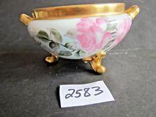 3 Footed Limoges 2 Gold Handled  Bowl Colorful Pink Roses, Veavy Gold Trim