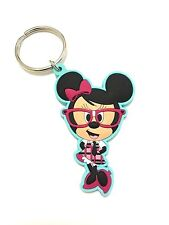 Disney Minnie Mouse Nerd Nerds Blue Standing Keychain Keyring Key Ring Chain