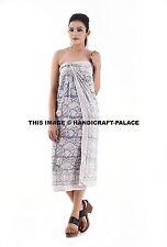Women Boho Sarong Loose Lace-up Wrap Skirts Floral Print Beach Long Sun Dress