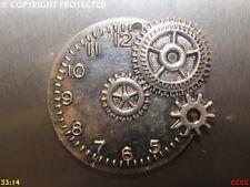 steampunk silver fridge magnet clock watch cogs gearwheels timepiece