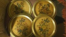 Lot of 4 Antique Borghese  Floral Wall Art picture gold  frame Beautiful!
