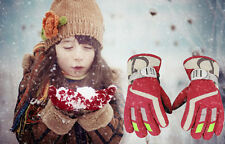 5-9 Years Red Kids Winter Warm Gloves Sport Windproof Waterproof For Snow Skiing