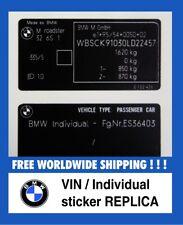 BMW VIN replica sticker Individual FIN Aufkleber High Quality Custom made