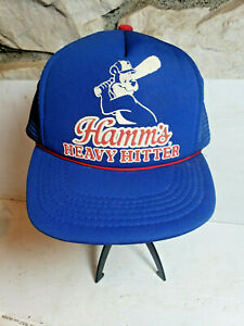 Vintage Hamm's Beer Heavy Hitter Snapback Truckers Hat bear swinging basall bat!