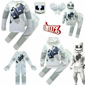 Cosplay Fancy Costume Halloween Party*DJ Marshmellow LED Mask Kids Hoodies+Pants
