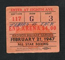 1947 BEAU JACK  vs TONY JANIRO boxing ticket Giovanelli Cohen Burke Bitet Gallie