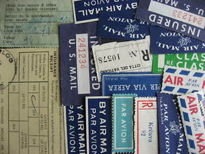 Airmail, Insured, Registration etc labels 18 worldwide, mint and used
