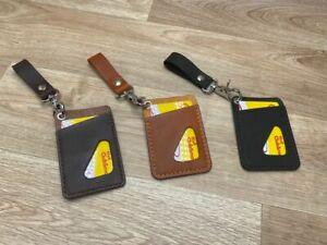 Kartenhülle Etui mit Koppelhaken Card Holder Wallet echt Leder Handmade