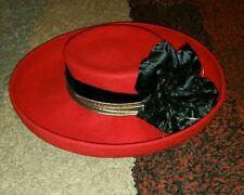 "Michael Howard red/black rose Georgi hat 100% wool Style Large 7-1/4 fits 22.5"""