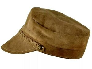 Vintage Suede Leather Fishermans Cap Sz 6 Newsboy Hat Braided Band Military