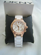 DKNY CHAMBERS LADIES WATCH NY2225 ROSE GOLD WHITE CERAMIC CRYSTALS BNIB