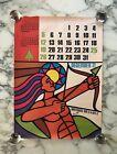 Vintage Sagittarius Zodiac Calendar Poster Lithograph