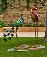 Outdoor Metal Tropical Bird Statue Peacock Flamingo Owl Rooster Garden Yard Art