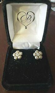 Brighton LA VIE FLOWER & CRYSTAL Silver Stud Earrings ~  NEW IN BOX! GREAT GIFT!