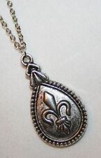 Dainty Silvertone Fleur-de-Lis Teardrop Pendant Necklace