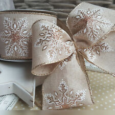 Wired Hessian Rose Gold and White Glitter Snowflake Christmas Ribbon. Xmas Tree