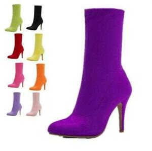 Womens Sock Stretchy Pumps Pointy Toe Stiletto Heel Wedding Ankle Boots Ladies