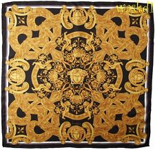 "VERSACE black Gold VENETIAN Baroque LIONS Medusas Silk 35"" Large scarf NWT Auth"