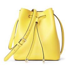 Lauren Ralph Lauren Mini Dryden Debby II Leather Drawstring Bucket Bag Yellow