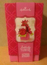 HALLMARK SUDDENLY FLOWERS  - A SURPRISE PAPER BOUQUET CARD-PINK!!!