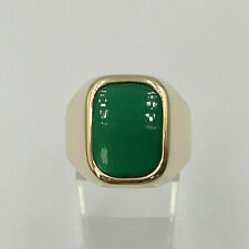 18ct Gold Green Agate Signet Ring.  Goldmine Jewellers.